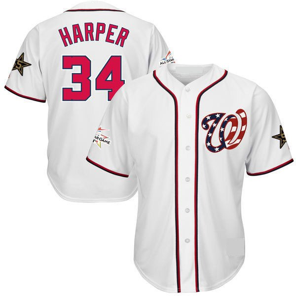 newest 0666e 2ae96 Men's #34 Bryce Harper Jersey Washington Nationals All Star White Cool Base