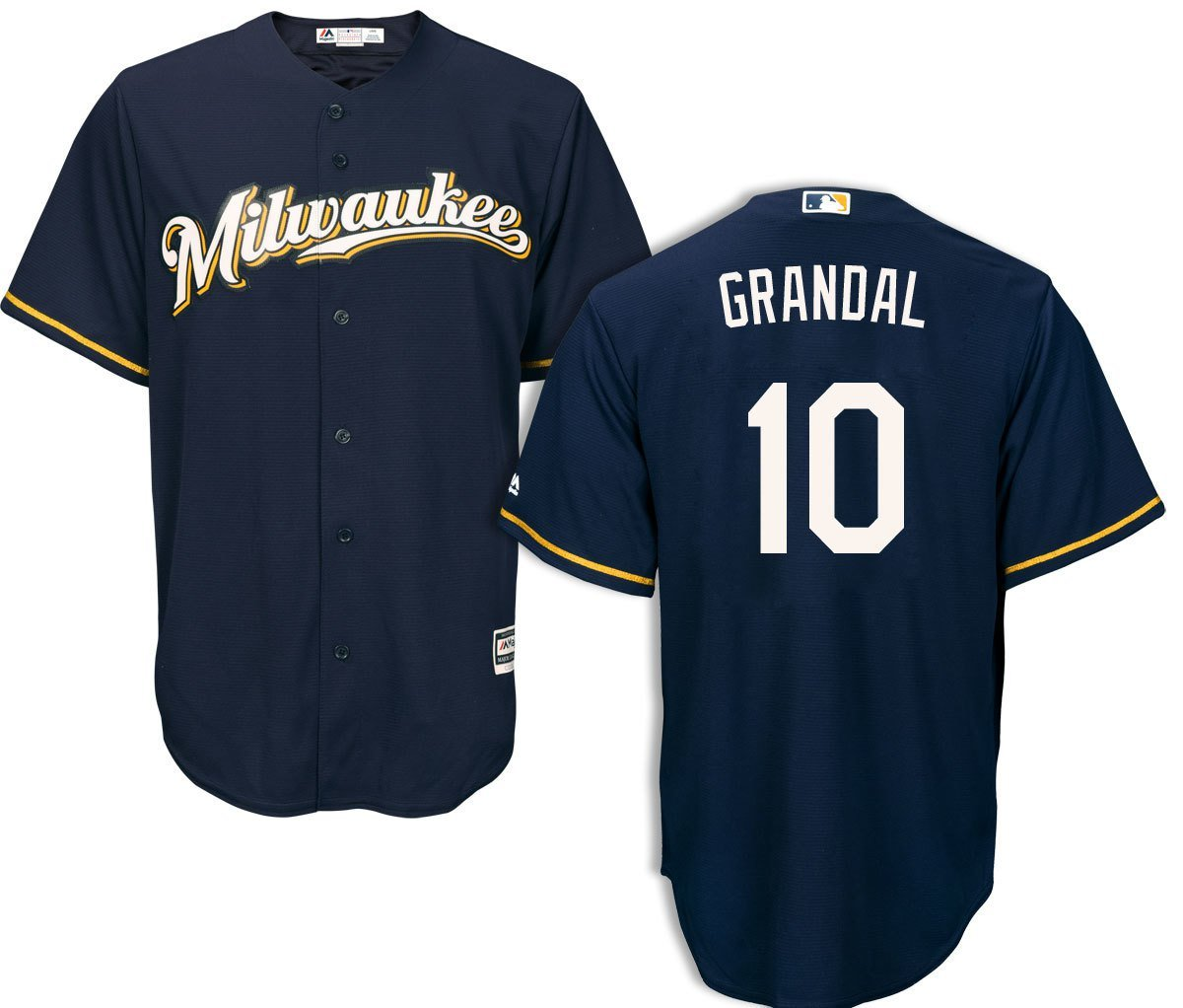 62afe57cae9 Men's Milwaukee Brewers #10 Yasmani Grandal Navy Alternate Cool Base  Basetall Jersey