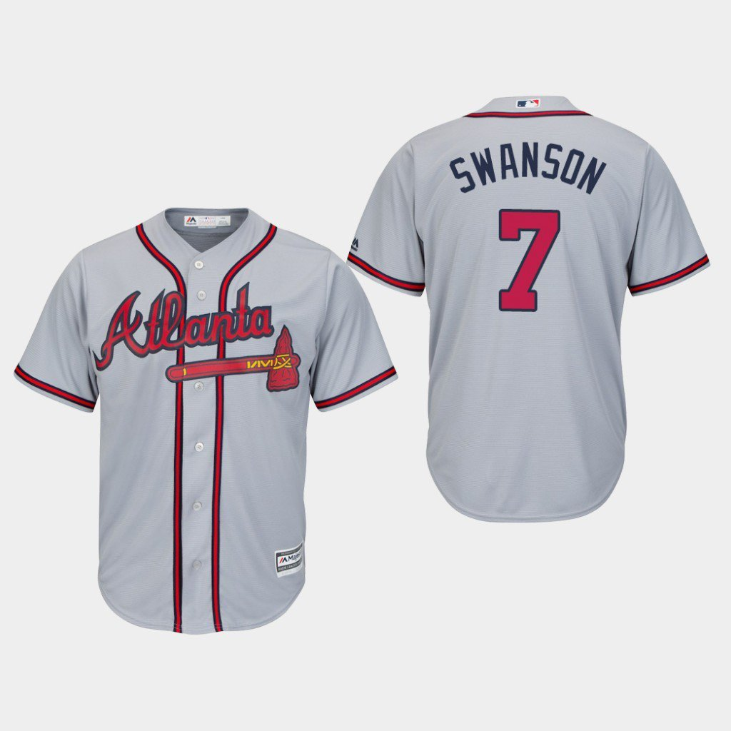 low priced 0a3ee 522a7 Youth Boys Atlanta Braves #7 Dansby Swanson Gray Cool Base Road Jersey