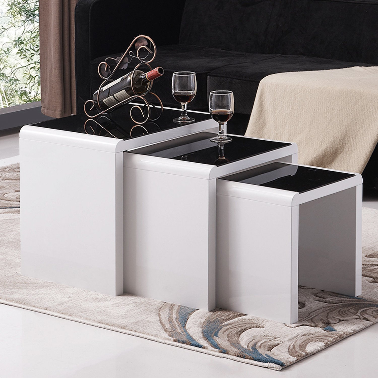 High Gloss White Nest of 3 Set Coffee Table Side End Table Living ...
