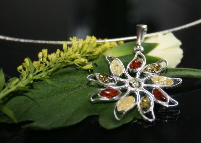 SALE!! - Baltic Amber in Silver Choker Necklace