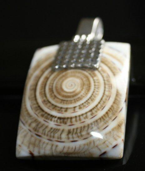 SALE!! - Square Shell in Ornate Silver Bail pendant