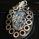 SALE!! - Paua and Shell in Ornate Silver Bail pendant