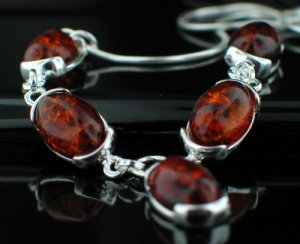 Cognac Baltic Amber with Silver necklace