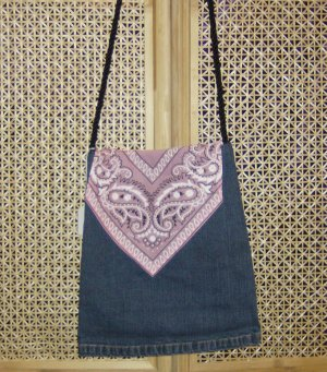 Pink Scarve Denim Bag