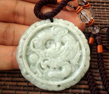 Chinese White Dragon jade pendant necklace