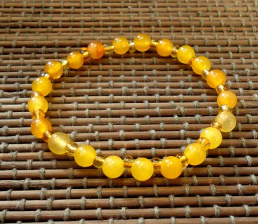 Chinese Canary Yellow Jade Beads stretch bracelet