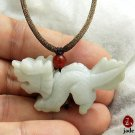 Chinese Little White Dragon jade pendant necklace NATURAL COLOR US SELLER