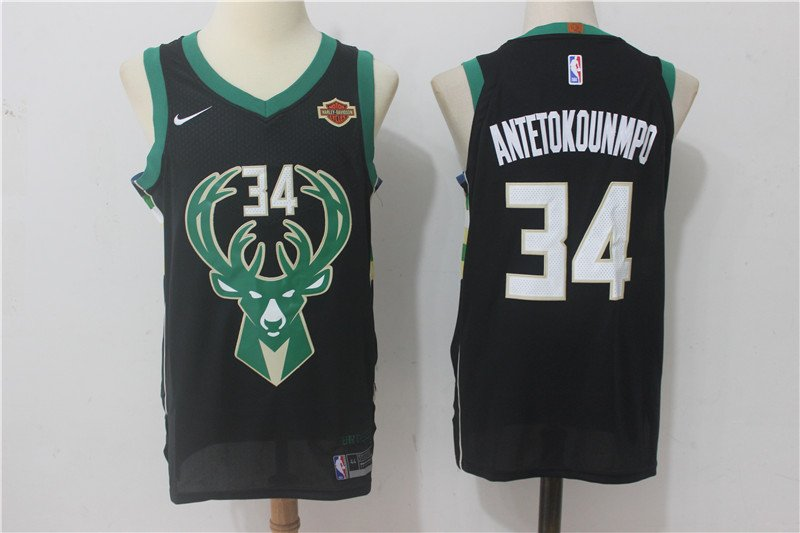 sports shoes 54a36 7bd2a Men's Milwaukee Bucks #34 Giannis Antetokounmpo Basketball Jersey Black
