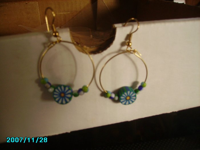 Blue and White Flowered Hoops