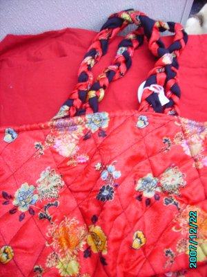 Red Satin Flowered Purse