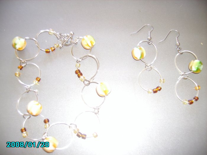 Hoop Bracelet set with Gold