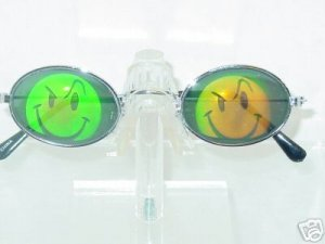 EVIL SMILEY FACE OVAL FRAME TEXAS HOLDEM HOLOGRAM SUNGLASSES