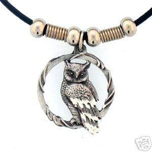 PERCHED OWL EARTH SPIRIT NECKLACE