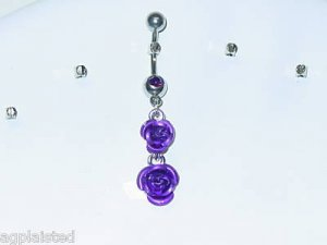 1 PURPLE DOUBLE ROSE DANGLE BELLY RING FREE US SHIPPING