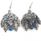 WOLF HEAD DREAMCATCHER EARTH SPIRIT DANGLE EARRINGS