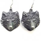 ROUGH FREE FORM WOLF HEAD EARTH SPIRIT DANGLE EARRINGS