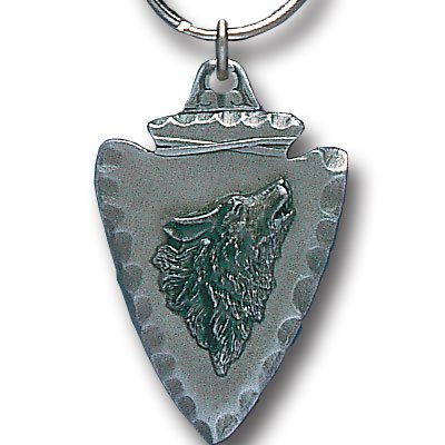 HOWLING WOLF HEAD ON ARROWHEAD SCULPTED ENAMELED KEY RING KEY CHAIN