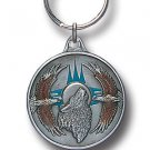 HOWLING WOLF HEAD AND EAGLES SCULPTED ENAMELED KEY RING KEY CHAIN