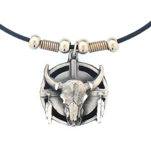 BUFFALO SHIELD AND FEATHERS EARTH SPIRIT NECKLACE