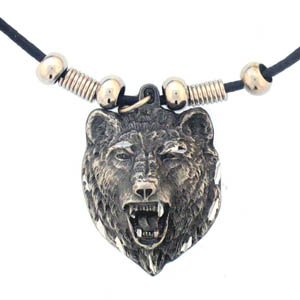 GRIZZLEY BEAR HEAD EARTH SPIRIT NECKLACE