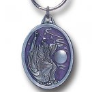 WIZARD AND MOON SCULPTED  ENAMELED KEY RING KEY CHAIN