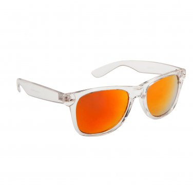 CLEAR FRAME ORANGE RED REVO WAYFARER STYLE SUNGLASSES