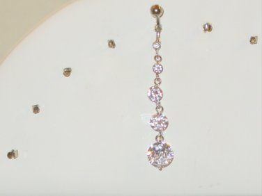 5 TIER CLEAR GEM DANGLE NAVEL RING BELLY RING FREE US SHIPPING