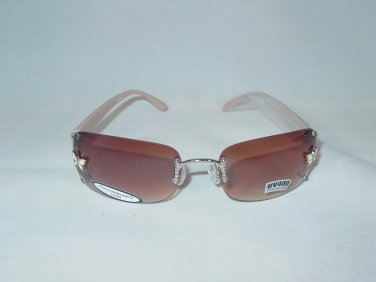 Beige Butterfly Accent Beige Arms Brown Lens Rimless Sunglasses