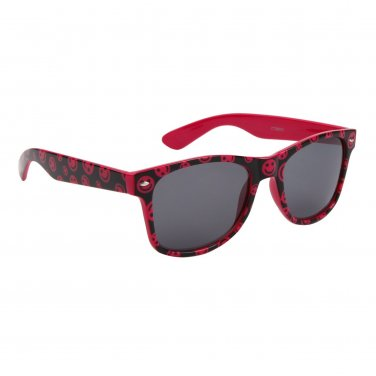 PINK HAPPY FACE PLASTIC FRAME WAYFARER STYLE SUNGLASSES