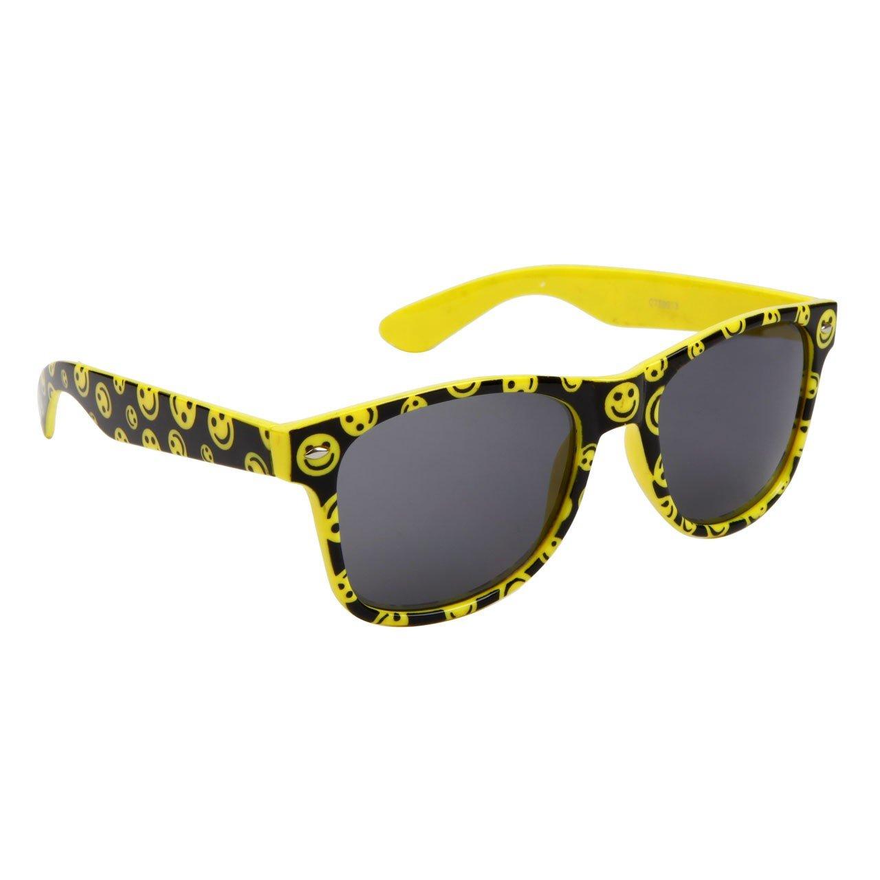 Yellow Plastic Frame Sunglasses : YELLOW HAPPY FACE PLASTIC FRAME WAYFARER STYLE SUNGLASSES