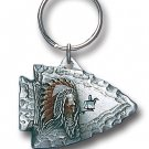 INDIAN CHIEF ON ARROWHEAD SCULPTED ENAMELED KEY RING KEY CHAIN