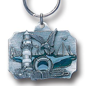 COASTAL SCENE ENAMELED KEY RING KEY CHAIN