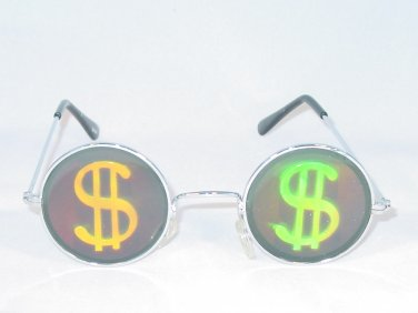 DOLLAR SIGN ROUND FRAME TEXAS HOLDEM WSOP HOLOGRAM SUNGLASSES