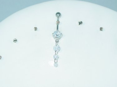 3 CLEAR CUBIC ZIRCONIA DONUT GEM CURVED SURGICAL STEEL BELLY NAVEL RING 316L 14G