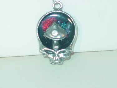 DEAD HEAD SKULL MUSHROOM SILVER PENDANT 24 INCH CHAIN NECKLACE NEW AND BAGGED