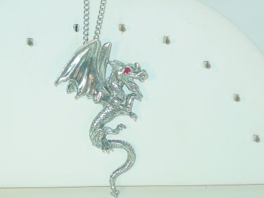 SILVER WINGED RED EYED DRAGON 24 INCH CHAIN NECKLACE 2 1/2 PENDANT NEW BAGGED