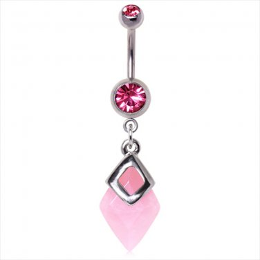 316L SURGICAL STEEL DIAMOND ROSE QUARTZ DANGLE NAVEL RING