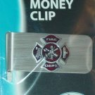 SMALL HAND PAINTED MALTESE CROSS EMBLEM ON STAINLESS STEEL MONEY CLIP SISKIYOU
