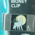 LARGE HOWLING WOLF MONEY CLIP SQUARE ENAMELED ON STAINLESS STEEL SISKIYOU