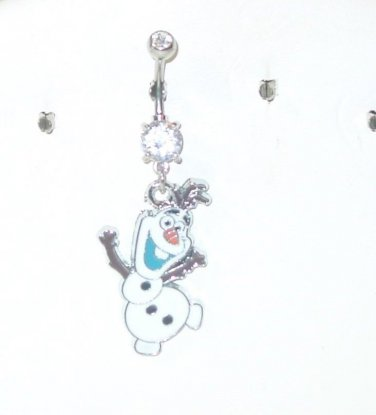 OLAF CLEAR DOUBLE CUBIC ZIRCONIA DANGLE CURVED BELLY NAVEL RING 316L STEEL 14G