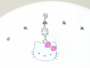 KITTY CLEAR DOUBLE CUBIC ZIRCONIA DANGLE CURVED BELLY NAVEL RING 316L STEEL 14G