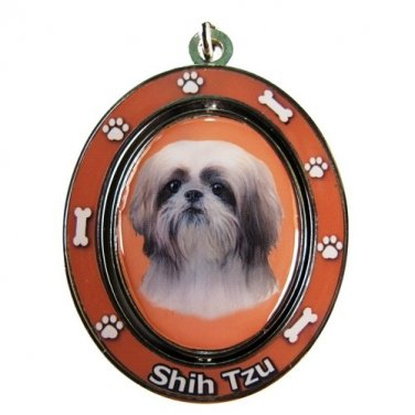TAN AND WHITE SHIH TZU SPINNING DOG KEY CHAIN
