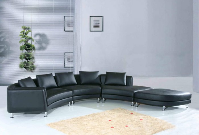 Black Leather Swivel Sectional