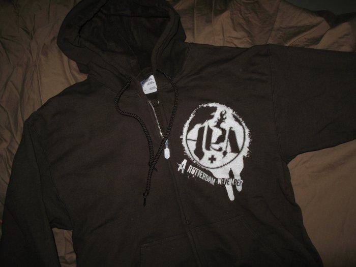 Hoodie - Black with white splatter - Lg