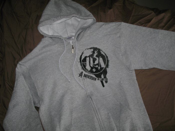 Hoodie - Heather gray with black splatter - Lg