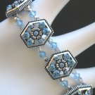 Aquamarine and Silver Crystal Stretch Bracelet