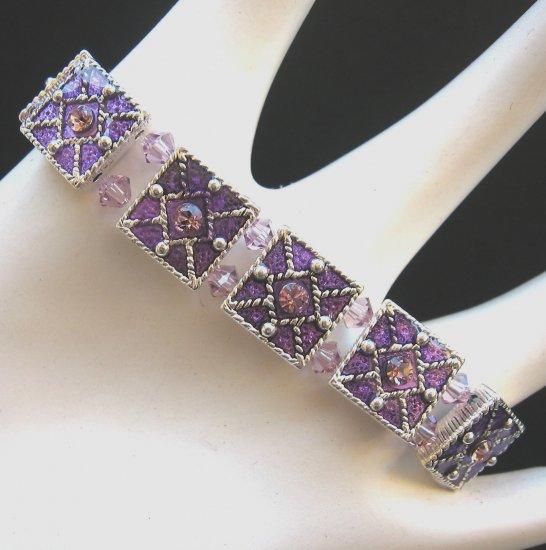 Light Amethyst Swarovoski Crystal Stretch Bracelet