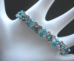 Blue Zircon Swarovoski Crystal Stretch Bracelet