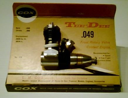 Cox Tee Dee .049 Controline or Free Flight Engine